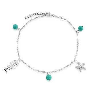 Bling Jewelry 925 Silver Nautical Starfish Anklet Reconstituted Turquoise Bead - Blue
