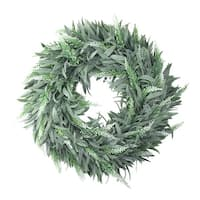 "14"" Artificial Dusty White Decorative Springtime Wispy Lavender Wreath - green"