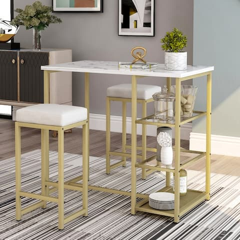 3-piece Modern Pub Set with Faux Marble Countertop