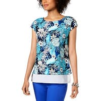Tommy Hilfiger Womens Pullover Top Floral Layered