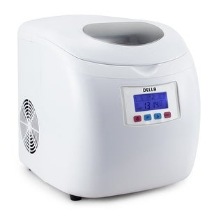 Della Deluxe Ice Maker LCD Display Portable- 3 Cube Sizes Yield Up To 26 Pounds of Ice Daily -White