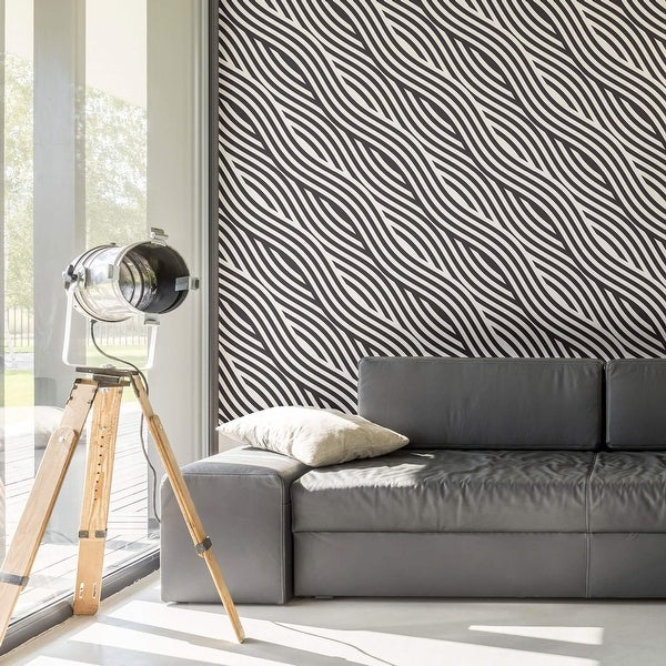 Black and White Striped Peel and Stick Removable Wallpaper 5638. Opens flyout.