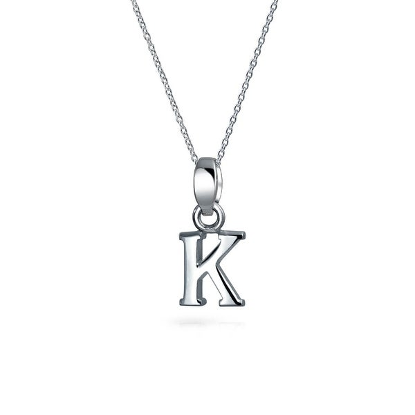 bling jewelry block letter k 925 sterling silver initial pendant necklace 18 inches
