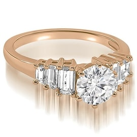 1.10 cttw. 14K Rose Gold Round and Baguette cut Diamond Engagement Ring