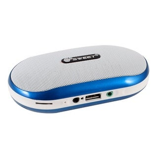Mp4 PC Mini Speaker MP3 Player FM Audio Radio Sound Blue White w Strap