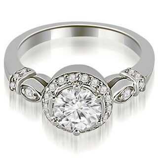 0.70 CT.TW Antique Round Cut Single Halo Diamond Engagement Ring in 14KT Gold - White H-I