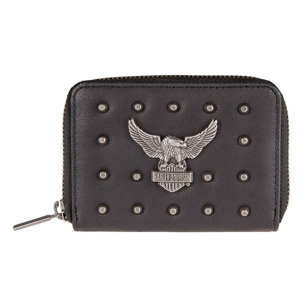 "Harley-Davidson Women's Nothing But Trouble Small Leather Wallet HDWWA11240-BLK - 5"" x 3.5"""