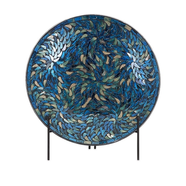 IMAX Home 80034 Peacock Mosaic Glass Decorative Plate with Iron Stand - Blue