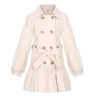 Richie House Little Girls Khaki Puff Sleeves Belt Double Breasted Jacket