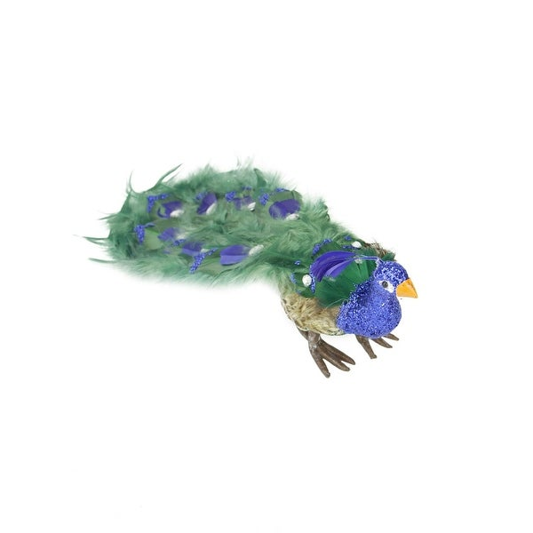 "13"" Colorful Green Regal Peacock Bird with Closed Tail Feathers Christmas Decoration - BLue"