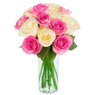 KaBloom: Bouquet of 12 Pink and White Roses (Farm-Fresh, Long-Stem) with Vase