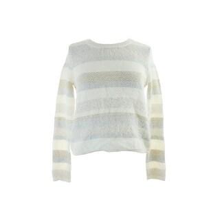 Kiind Of White Eyelash-Knit Metallic Stripe Sweater M