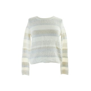 Kiind Of White Eyelash-Knit Metallic Stripe Sweater XS