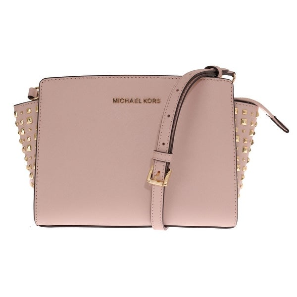 771a4b8887 Michael Kors Handbags Pale Pink SELMA STUD Leather Messenger Bag - One Size
