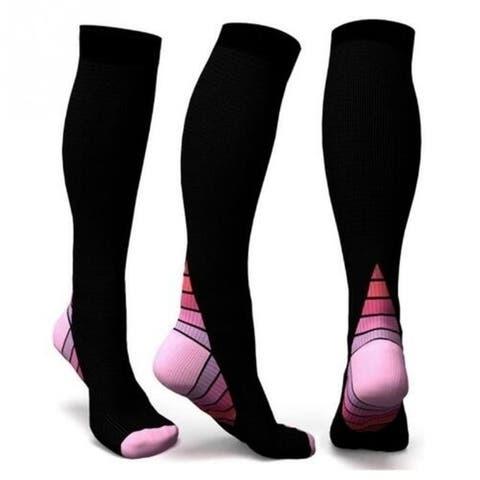 2 Pieces Men Professional Compression Socks Breathable Travel Activities Fit For Nurses Shin Splints Flight Travel