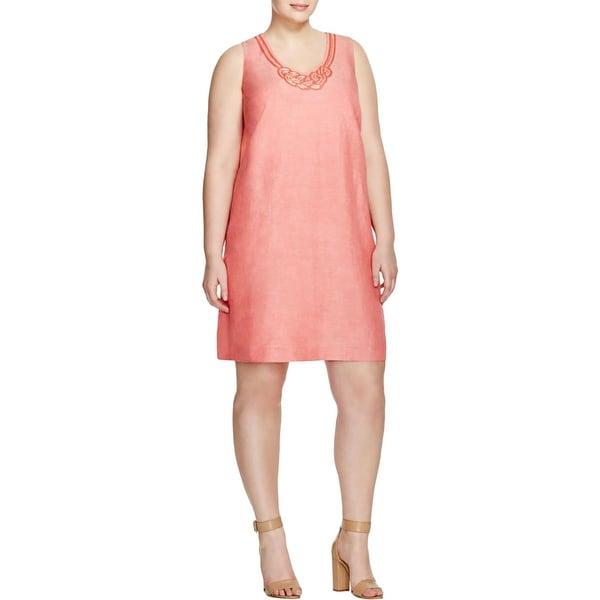 Nic + Zoe Womens Plus Casual Dress Embellished Shift