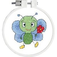 "Kid Stitch Bug & Flower Stamped Cross Stitch Kit-3"" Round"