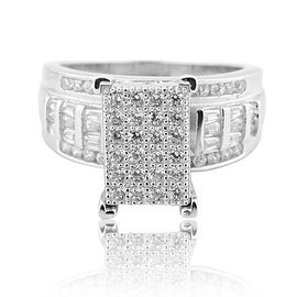 1ctw Sterling Silver Princess Cut Style Pave Round and Baguette Cut Wedding Ring 3 in 1 With CZ