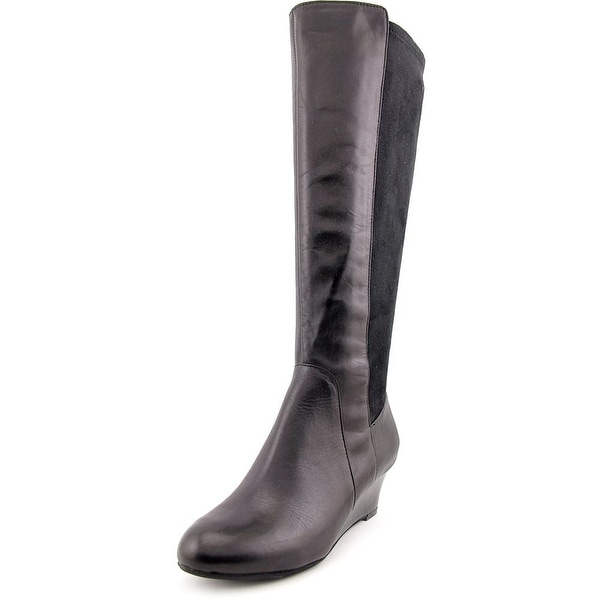 Giani Bernini Deanaa Women Round Toe Leather Black Knee High Boot