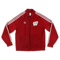 Adidas Mens Legacy Track Jacket University of Wisconsin Red - red/white