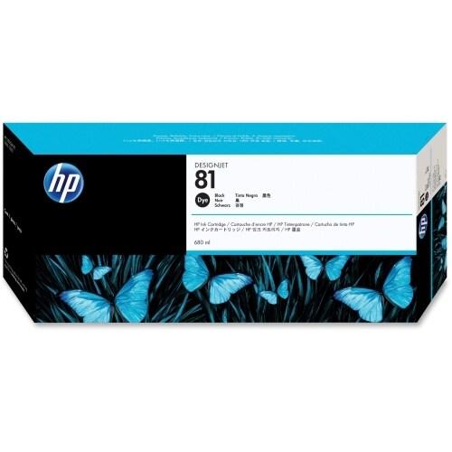HP 81 680-ml Black DesignJet Dye Ink Cartridge (C4930A) (Single Pack)