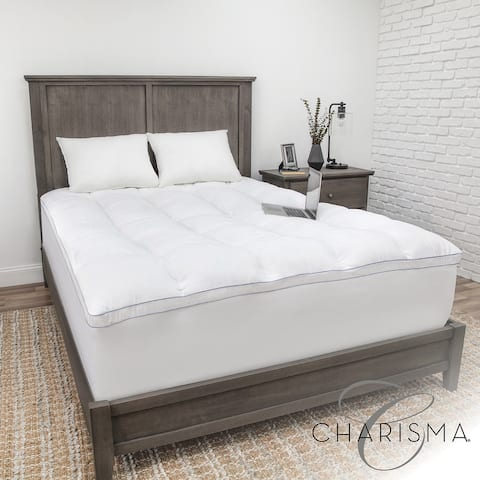 Luxury Plush 3.5-Inch Memory Foam Cluster and Gel Fiber Mattress Topper from Charisma