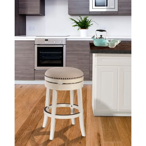 """Copper Grove Curlew White Wood Backless Swivel Counter Stool - 18""""W x 18""""L x 26""""H"""