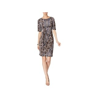 Connected Apparel Womens Petites Mini Dress Snake Print Faux Wrap