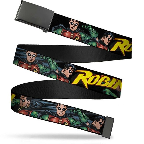 Blank Black Buckle Robin Red Green Poses Black Webbing Web Belt