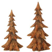 Set of 2 Golden Brown Pine Tree Christmas Table Top Decoration 15.25""