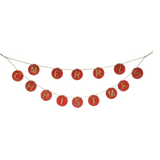 Pack of 6 Decorative Wooden Red Merry Christmas Garland