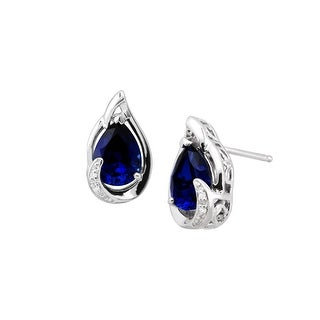2 5/8 ct Created Sapphire Stud Earrings with Diamonds in Sterling Silver - Blue