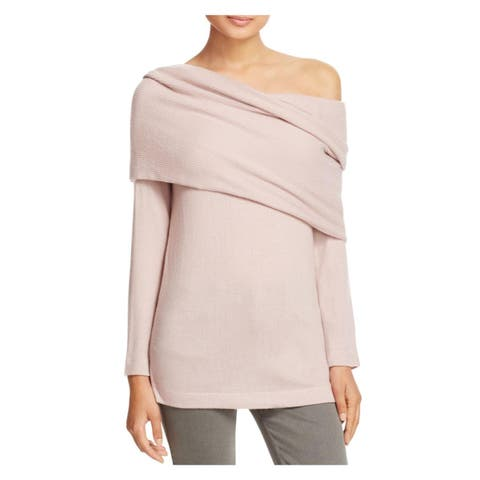 Three Dots Womens Corey Pullover Sweater Off-The-Shoulder Knit