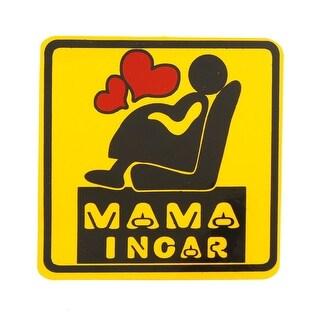 Ma Ma in Car Print Round Sticker Auto Vehicle Decor Black Yellow