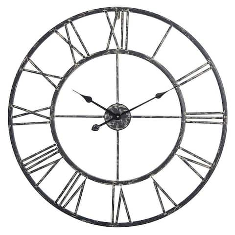 Utopia Alley Oversized Roman Round Wall Clock, Black, 27""