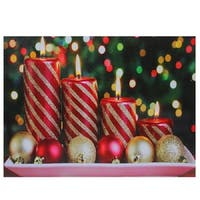 "LED Lighted Christmas Candles with Ornaments Canvas Wall Art 11.75"" x 15.75"""