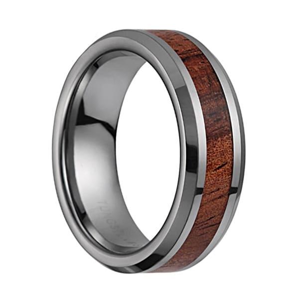 Tungsten Carbide Wedding Band With Koa Wood Inlay Amp Diamond Cut Polished Edges