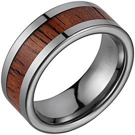 Tungsten Wedding Band With Koa Wood Inlay 8mm