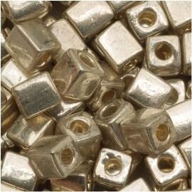 Miyuki 4mm Glass Cube Beads 'Metallic Silver' 1051 10 Grams