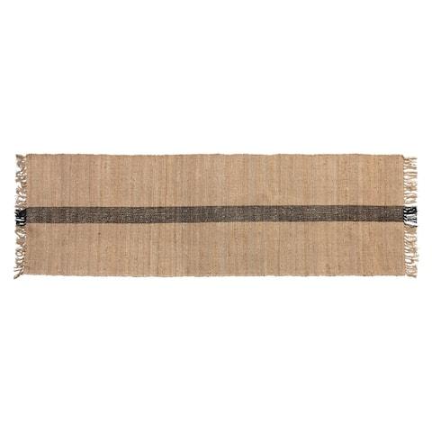 Jute & Cotton Floor Runner with Black Woven Stripe, Natural - 2-1/2' x 8'