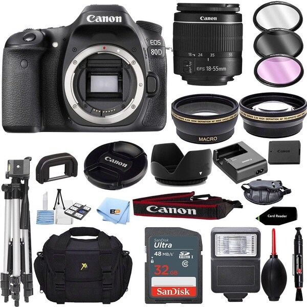 Canon EOS 80D Camera Accessory Kit W/ 18-55mm f/3.5-5.6 IS STM Lens. Opens flyout.
