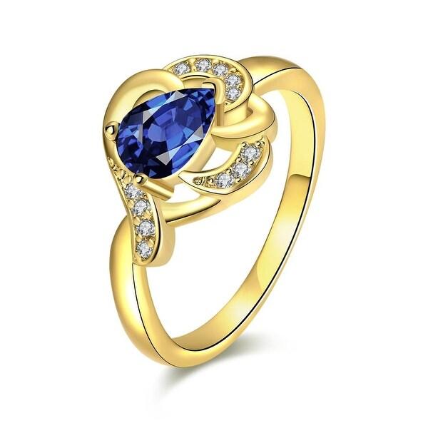 Gold Triangular Saphire Gem Ring