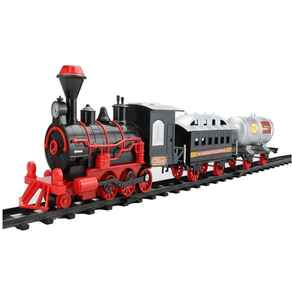 13-Piece Battery Operated Lighted and Animated Christmas Express Train Set with Sound - RED