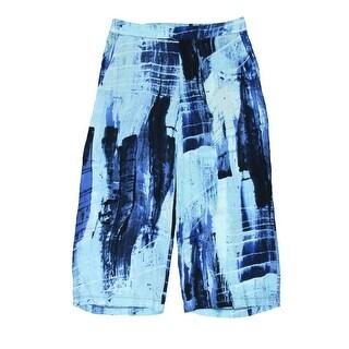Aqua Womens Pattern Flat Front Capri Pants - S