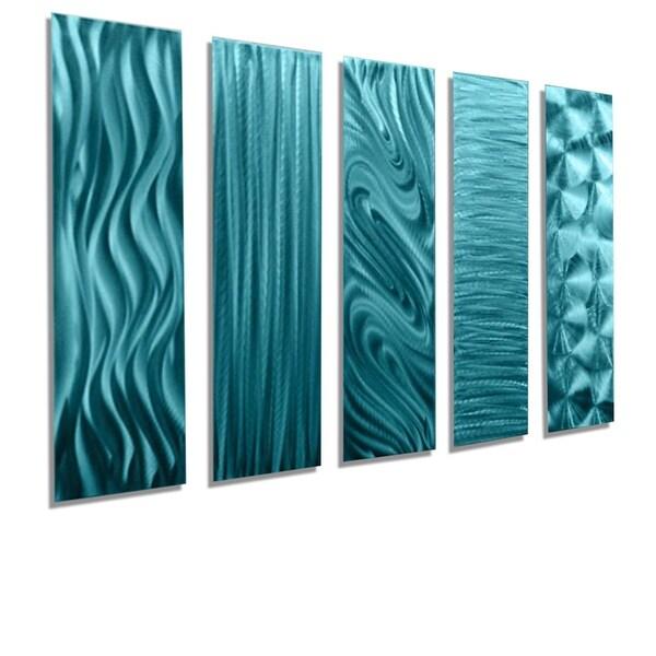 Statements2000 Aqua Blue Metal Wall Art Accent Panels by Jon Allen (Set of 5) - 5 Easy Pieces Aqua