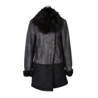 T. Tahari Faux-Fur-Trim Colorblocked Faux-Shearling Coat - XS