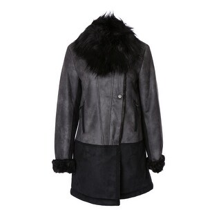 T. Tahari Faux-Trim Colorblocked Faux-Shearling Coat