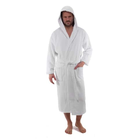 Classic Turkish Cotton White Hooded Kimono Terry Cloth Bathrobe with 2 Pockets