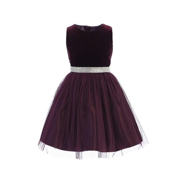 7e8c2a86fda7a Sweet Kids Little Girls Plum Velvet Mesh Rhinestone Belt Christmas Dress