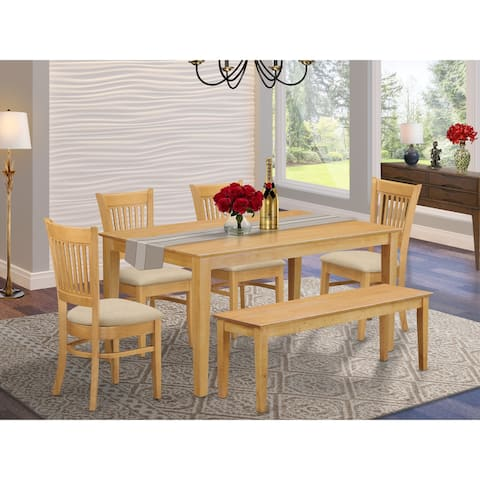 6 Piece Table set - Kitchen table and 4 dining room chairs combined with a wooden dining bench - Oak